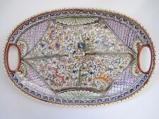 "CERAMICA DE COIMBRA PORTUGAL HAND PAINTED SIGNED 19"" x 13"" OVAL PLATTER NEW"