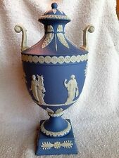 "Vintage ~ Wedgwood ~ Blue Jasper Ware Urn With Lid ""Muses"" Unique & Scarce"