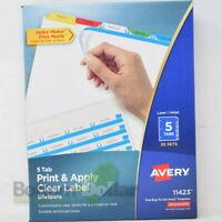 Avery 11423 Print & Apply Multi-color Index Maker Label Dividers 5 Tabs-25 Sets