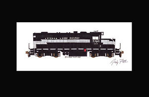 """Finger Lakes Railway GP9 #1701 11""""x17"""" Matted Print Andy Fletcher signed"""