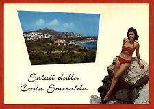 SARDEGNA, SALUTI DALLA COSTA SMERALDA + RAGAZZA IN BIKINI, 1974     m