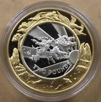 FALKLAND ISLANDS £2 1999-2000 Silver Proof Bi-metal Millennium Map & Wildlife