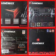 GAMEMAX 800W MODULAR ATX POWER SUPPLY 14CM FAN 4x 22a 12v RAILS 2x 8 PIN VIDEO