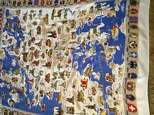 "Vtg SOUVENIR TABLECLOTH of EUROPE Map & Coats of Arms 55x48"" TERRIFIC GRAPHICS!"