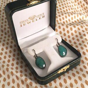 9.65 ct Emerald Rose Cut Drop Earrings