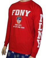 FDNY Long Sleeve Fire Dept Licensed T-Shirt Red New York Fireman Mens Unisex Tee
