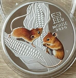 2020 Australia COLORED PROOF Lunar Year of the Mouse 1oz Silver Plated $1 Coin