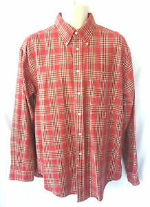 Tommy Hilfiger Mens Size Large Shirt Long Sleeve Cotton Flannel Plaid Red Green