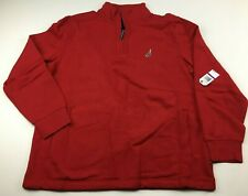 Nautica Men's Red Logo Quarter-Zip Fleece Sweater Pullover Sweatshirt Size 2XL