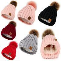 Women Winter Beanie Hat Scarf Hats Ladies Knitted Pom Pom Worm Fleece Lining