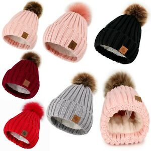 Girl Winter Beanie Hat Kids Girls Hats Knitted Pom Pom Worm Fleece Lining Youth