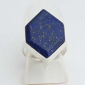 Lapis-Lazuli Ring 925 Silver Gemstone Jewellery Navy Blue Natural Fine Gr.14/54
