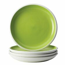 Rachael Ray Dinnerware 4 Salad Plates RISE Green White Stoneware 8.75 inches