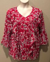 (NWT) Alfani Women's Pink Ruffled Front V-Neck Floral Mesh Top Plus Size 2X
