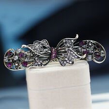 Fashion Black Alloy Clear Rhinestone Butterfly Hair clip Hair Pin Accessories