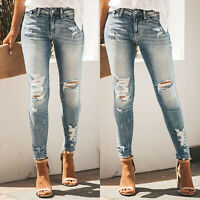 Women High Waist Frayed Jeans Ripped Denim Skinny Slim Pencil Pants Long Trouser