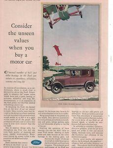 1929 Ford Model A Tudor Sedan with Ford Tri-Motor Original ad  -  Rare