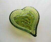 Indiana Glass Green Sandwich Heart Candy Nut Ashtray Mini Tray
