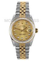 Rolex Ladies 31MM Datejust 18K Gold Steel Champagne Diamond Dial & Bezel Jubilee