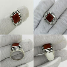 Awesome Solid 925 St.Silver Natural Carnelian Gemstone Rings Jewelry 12.8 G US 9