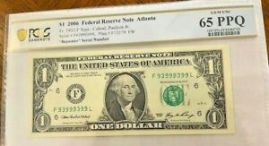 2006 $1 Fancy Serial Number Binary  Repeater-#93999399-PCGS 65PPQ 6-9's