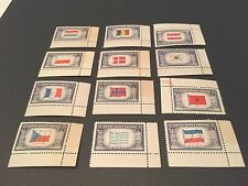 Set of Twelve 5¢ cent Country Stamps, Countries Overrun WWII US 1943-1944 MNH-OG