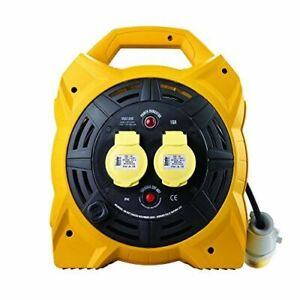 Defender E86540 20M Box Reel-16A 2 Way 1.5mm 110V, 110 V, Yellow