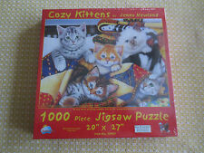 "SEALED Jenny Newland COZY KITTENS Snuggled in Quilts 1000 PC.PUZZLE  - 20"" x 27"""