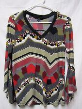 TIME LINE top shirt blouse M 6/8 Bust 38 black multi Moder V-neck Pretty Sleeves