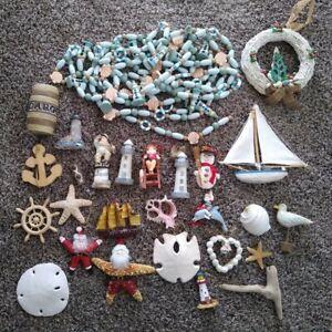 Coastal Nautical Sea Shell Christmas Ornaments Decor Santa Large LOT