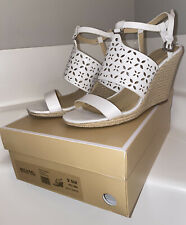 Michael Kors Darci Wedge Leather Optic White Size 9.5 Cut Out Detail Wedge Heels