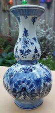 Vintage Antique Bulbous Floral Dutch Hand Painted Delft Blue & White Tulip Vase