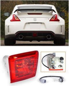 For 09-Up Nissan 370Z Z34 JDM Crystal Red Lens Rear Fog Lights Tail Brake Lamps