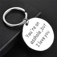 Funny Letter Keychain Pedant Men Silver  Keychain Keyring Boyfriend Love Gift Jc