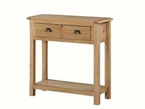 Kelowna Natural Oiled Oak Large Console Hall Table with 2 Drawers shelf Hallway