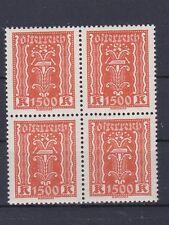 1922/24 Kornährensatz ANK 393 die 1500 Kronen 4er Block Postfrisch ** MNH € 76,-