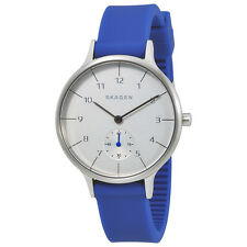 Skagen Anita White Dial Ladies Blue Rubber Watch SKW2602
