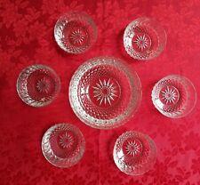 "Vtg Arococ France 7pc Clear Patterned Glass 8"" Serving Bowl and 6 Dessert Bowls"