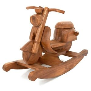 Rocking Vespa Scooter Rustic Child's Kids Children Waxed Solid Wooden - FU-640-W