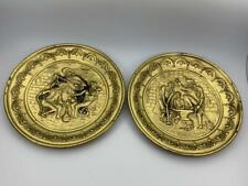 """Vintage Brass Wall Hanging Plate Tavern Scene MAD England 10"""""""