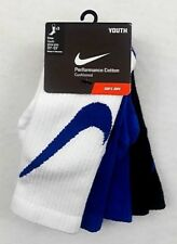 Nike Performance Cotton Crew Socks Boys Youth Size 3Y - 5Y White Blue Black