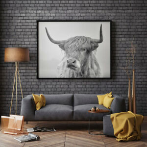 Cow Canvas Print Nordic Wall Art Black And White Highland Poster Home Decor Hot