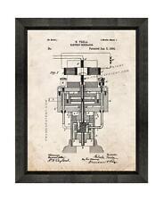 Tesla Electric Generator Patent Print Old Look in a Beveled Black Wood Frame