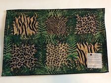 Tapestry Placemats Topical Jungle Animal Print Cheetah Leopard Green Brown 4 NEW