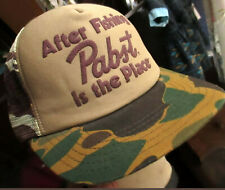 NEW VTG CAMO PABST FISHING Hat Cap Snap Back Embroidered Farmer Construction USA