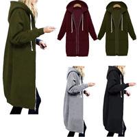 Les femmes d'hiver manches longues à capuchon en vrac gilet zip veste manteau