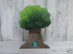 Middle Earth Small Tree or Fairy House and Stand Hand Painted Art Miniature US