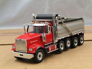 Diecast Master CUSTOM red/silver Westernstar 4900SF quad axle Dump Truck 1/50..