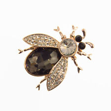 Bug Insects Pin Brooch Costume Jewelry Crystal Rhinestone Clear Black Gold Tone