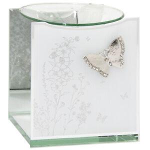 Mirror Butterfly Glitter Glass Oil Burner Warmer Fragrance Wax Melt Tart Silver